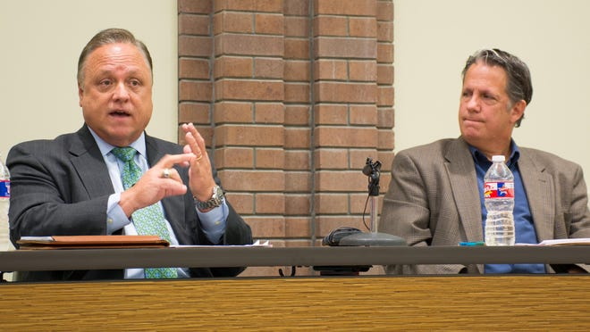 State Rep. Joel Robideaux and Dee Stanley, chief administrative officer for Lafayette Consolidated Government, participate in a young professionals forum Thursday night.