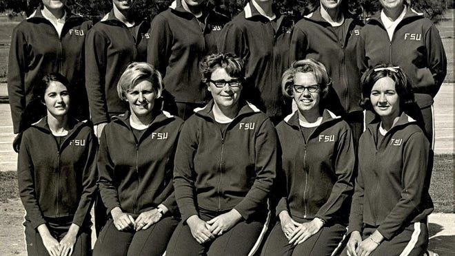 FSU's 1969 Inaugural Women's Track & Field Team. Back row (left to right): Assistant coach Martha Mullins, Avis Latham, Sally Ann Ray, Gail Conrad, Joyce Lowery, Head coach Dr. Frankie Hall. Front row: Margo Starnes, Lee Anne Wojtkowski, Margaret Kane, Janice Danning, Mary C. Gilbert.