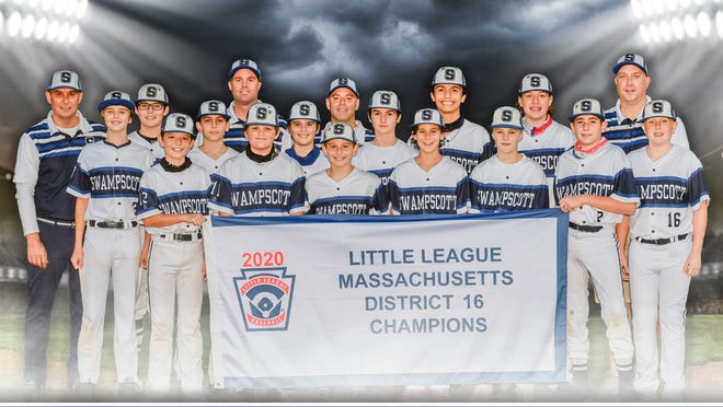 The 2020 Swampscott Little League 12-year-old all-stars are all smiles after winning the District 16 championship in early October. They are, from left, front row, Jamison Ford, Micah Hashikawa, Caden Ross, Michael Collins, Nico Croft, C.J. Hyer, Jason Rothwell and Aidan Brown. Back row, manager Steven Correnti, Cooper Correnti, Chase Groothius, coach Kyle Spear, Jack Spear, coach Jon Collins, Connor Chiarello, Adam Sparacio, Nate Lee and coach Mike Brown.