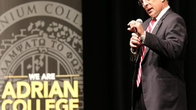 Adrian College President Jeffrey Docking addresses incoming freshmen and their families during a sneak peak event July 13, 2018. Adrian College faculty approved a vote of no confidence in Docking Friday.