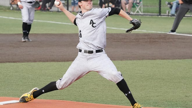 Tommy Parsons pitches for Adrian College during an 2018 NCAA tournament game against Otterbain.