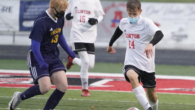 Clinton's Park Baughey controls the ball during Tuesday's Division 3 regional match against Clawson at Livonia Clarenceville.