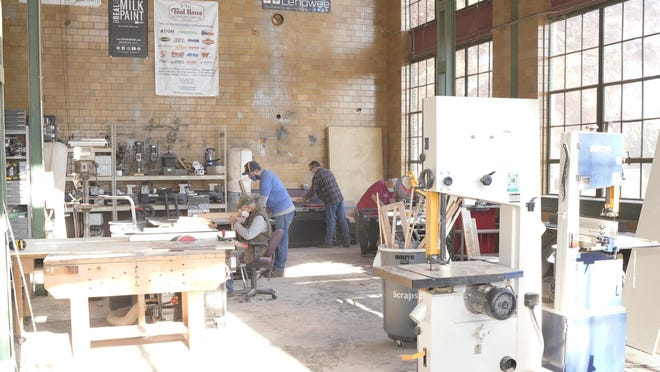 The Woodworking for Warriors program's sessions take place on Wednesdays at the Sam Beauford Woodworking Institute in Adrian, pictured Oct. 28.
