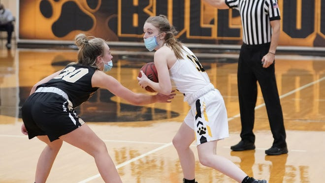 Adrian College's Kiara Wernette handles the ball during a game against Manchester on Nov. 7.
