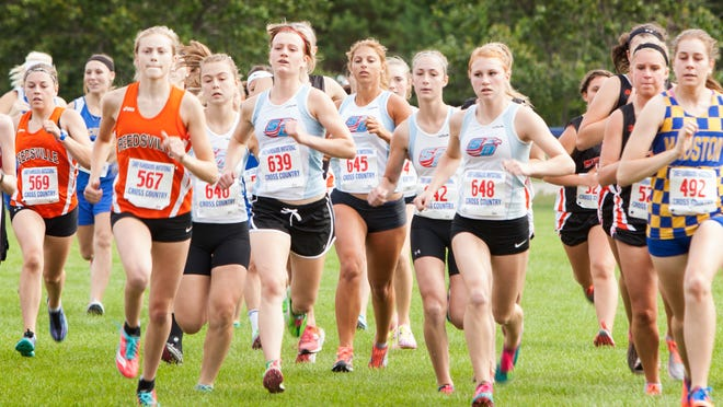 Southern Door runners get out with the lead pack during the Chief Kahquados Invitational Thursday in Fish Creek. Pictured from left are Julia Englebert, Lizzie Buhr (639), Lily Samuels (645) Gracie Englebert and Chloe Volkman (648).