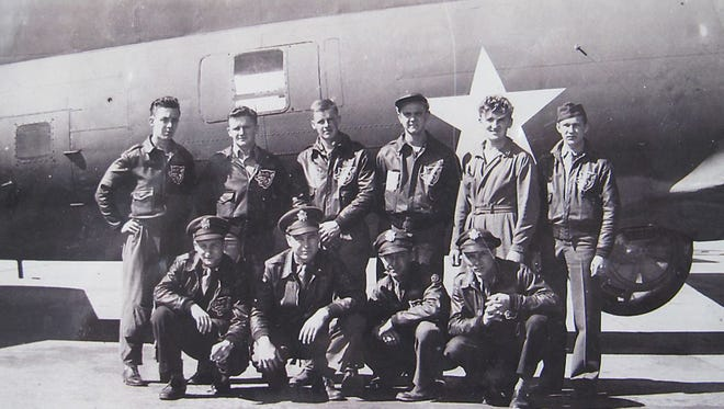 Leo DeGraw's crew in 1943. His B-17 bomber was shot down during WW II in the Bay of Biscay off the coast of France on Dec. 5, 1943, almost 75 years ago. Front row from left (last names only): Albert, Betow, Weikert, Kleuser. Back row, left to right: O'Keefe, DeGraw, Day, Mushrush, Wysokinski, Olowniuk.