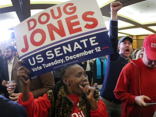 Supporters of Democratic candidate for U.S. Senate Doug Jones react as they watch results during an election-night watch party Tuesday, Dec. 12, 2017, in Birmingham, Ala. In a stunning victory aided by scandal, Democrat Doug Jones won Alabama's special Senate election on Tuesday, beating back history, an embattled Republican opponent and President Donald Trump, who urgently endorsed GOP rebel Roy Moore despite a litany of sexual misconduct allegations.