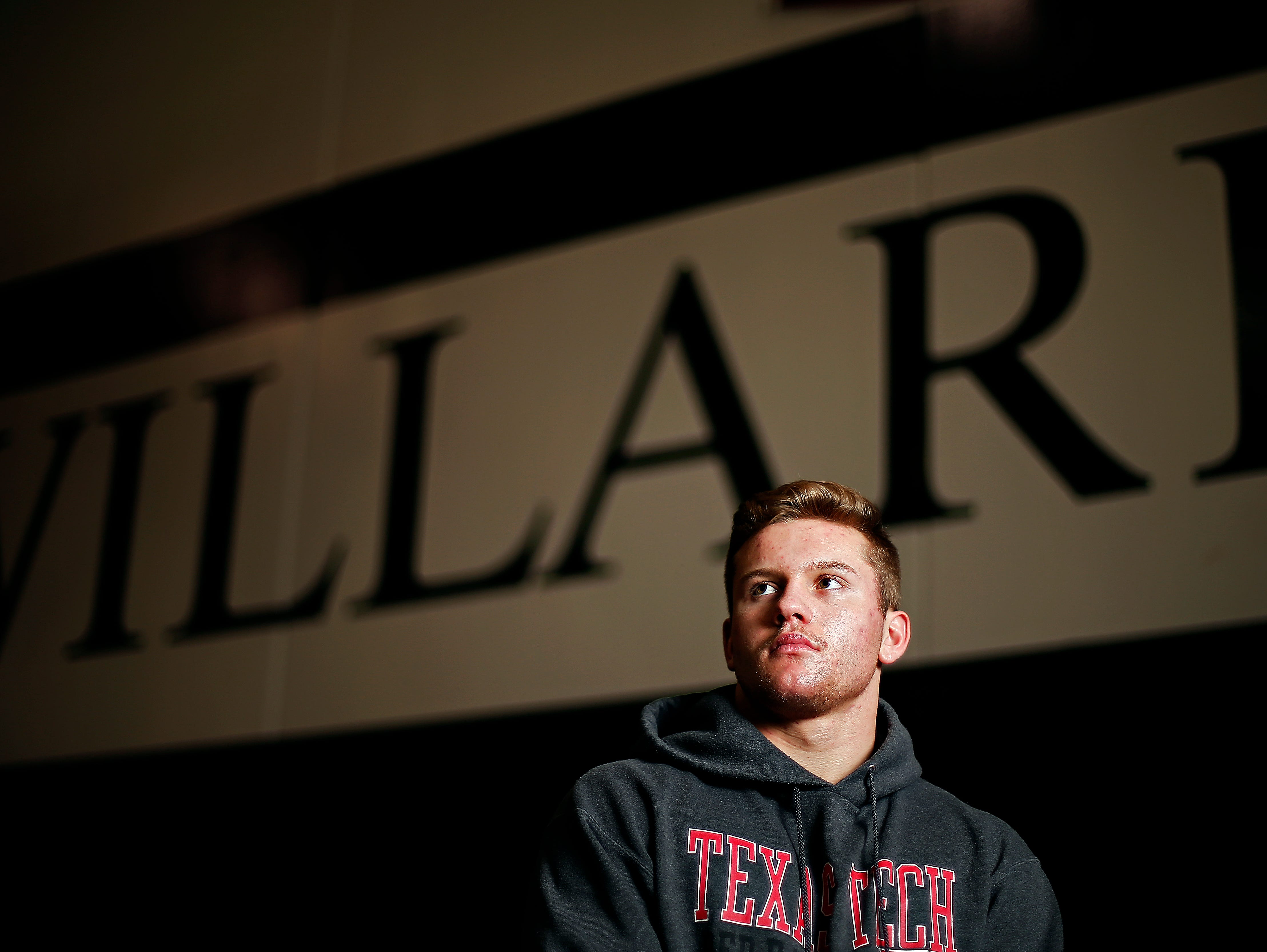Hunter Yeargan has not lost a match during his senior year wrestling for Willard High School, and has only lost 10 matches in his four year career for the Tigers. He posed for a portrait at the school in Willard, Mo. on Feb. 16, 2016 as he trains for his upcoming trip to the state tournament.