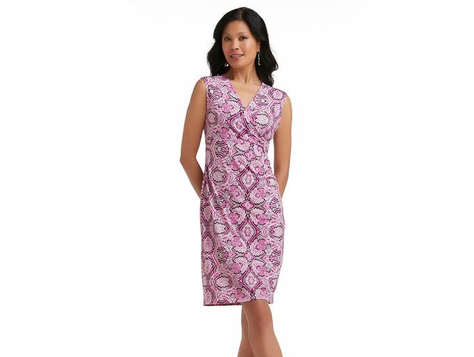 Colorful frocks fit the spring season. Jaclyn Smith women's faux wrap dress in paisley print, $22.49 at Kmart. (Gannett/File)