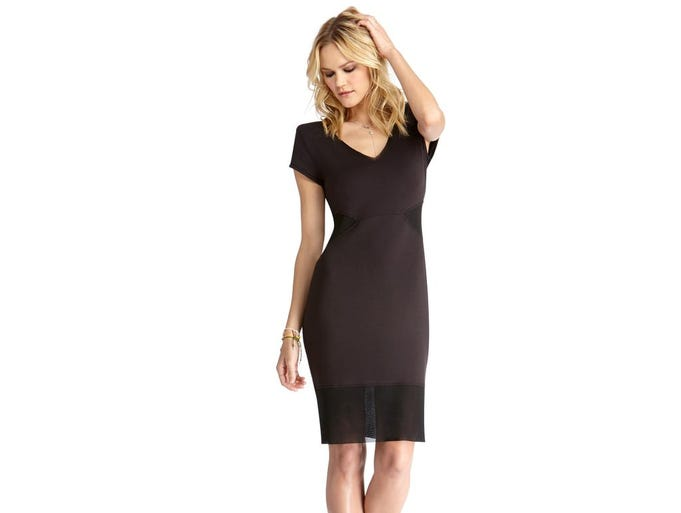 Add flirty flair with see-through fabric. Fitted mesh combo dress, $99 at rachelroy.com. (Gannett/File)