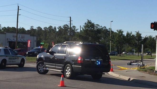 A fatal crash involving a bicyclist has closed Three Oaks Parkway southbound at San Carlos Boulevard on Friday, May 6, 2016.
