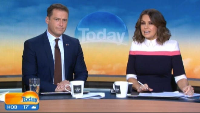 """Co-hosts Karl Stefanovic and Lisa Wilkinson are dressed for """"Today."""""""