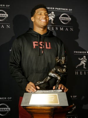 Florida State quarterback Jameis Winston meets the media on Friday in a Heisman Trophy news conference.