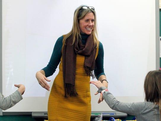 Mindfulness teacher Janet Reinhoffer leads a class