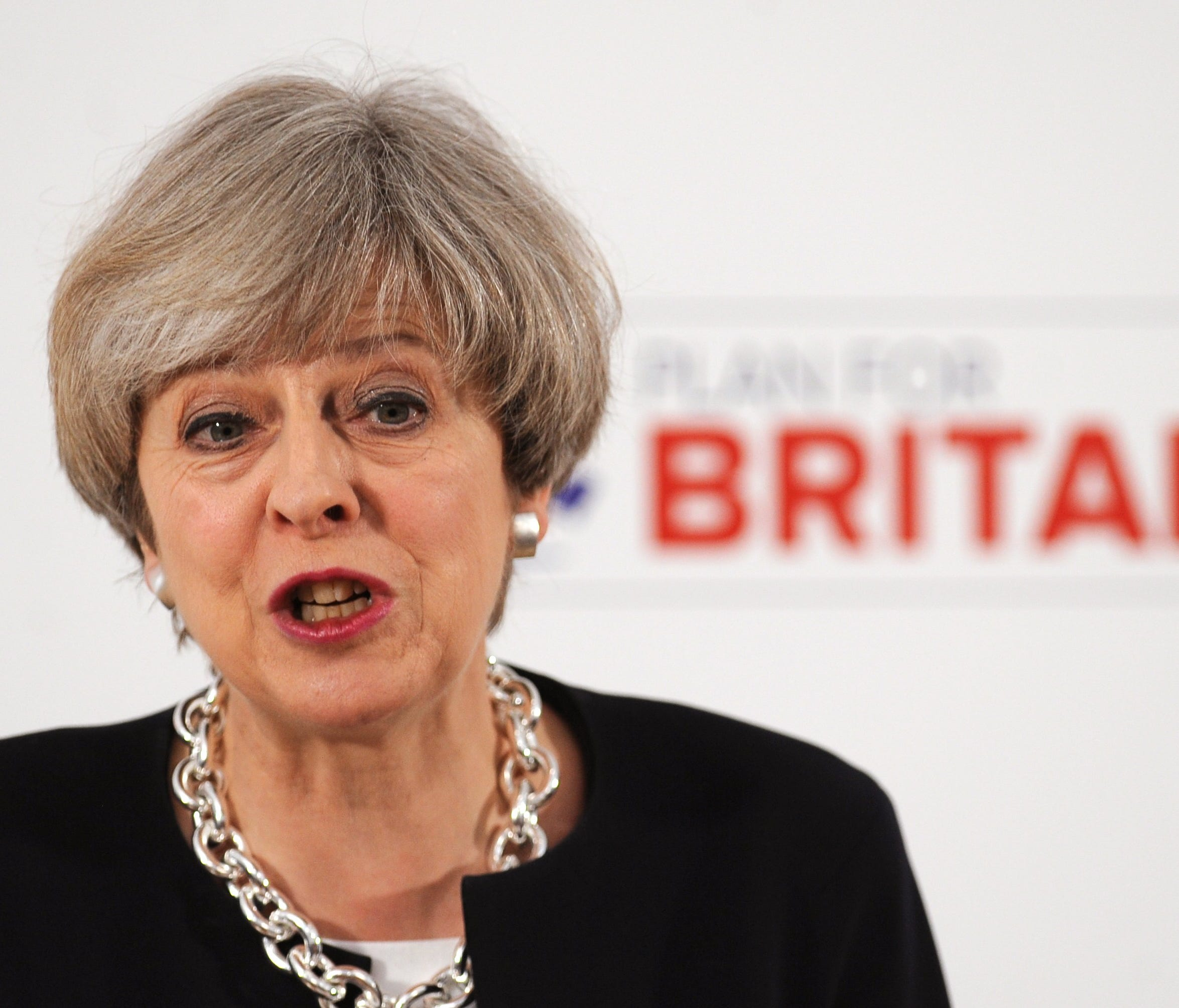 British Prime Minister Theresa May speaks during the launch of the Conservative Party's Local Election campaign in Nottingham, Britain, 06 April 2017.