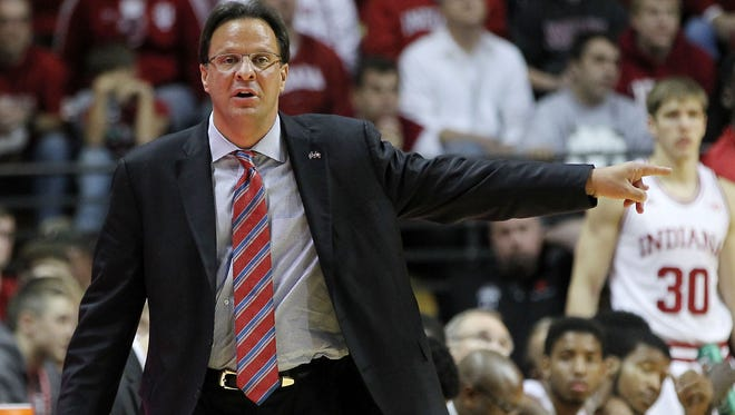 Indiana Hoosiers head coach Tom Crean during the first half against the Samford Bulldogs at Assembly Hall.
