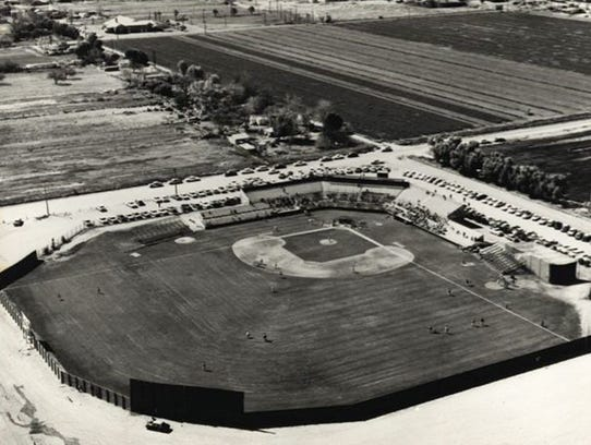 An aerial of the old Scottsdale Stadium in the mid-