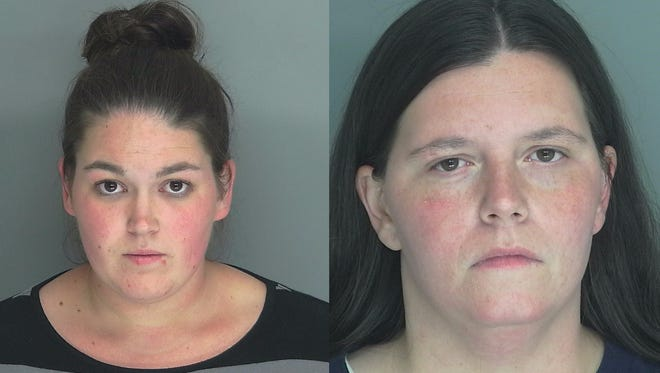 24 year old Crystal Jean Hostetter (L) and 30-year-old Sarah Elizabeth McClain (R) charged with locking son in cage