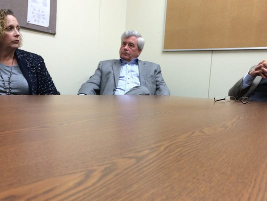 From left, York County Coroner Pam Gay, District Attorney Tom Kearney and chief deputy prosecutor Dave Sunday discuss York County's heroin epidemic during a meeting with The York Dispatch editorial board in 2014.