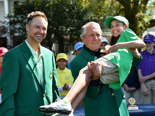 Three-time Masters champion Gary Player lifts Vanessa