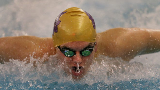 St Rose's Liam Cosgrove in the 100 yard Butterfly  which he won at the 2016 Monmouth County Swim Championships at Neptune Aquatic Center in Neptune NJ on January
