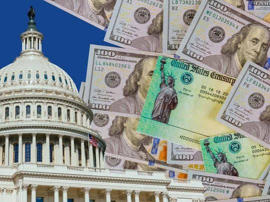 An image of the Capitol building in Washington, D.C., next to a messy pile of one hundred dollar bills and economic stimulus checks from the Treasury Department.