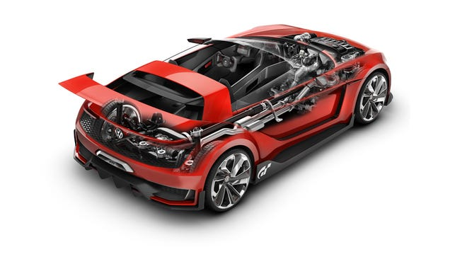 Created for the Gran Turismo 6 video game, the chopped-windshield and carbon fiber body of the VW GTI Roadster Vision explore the extremes of GTI.