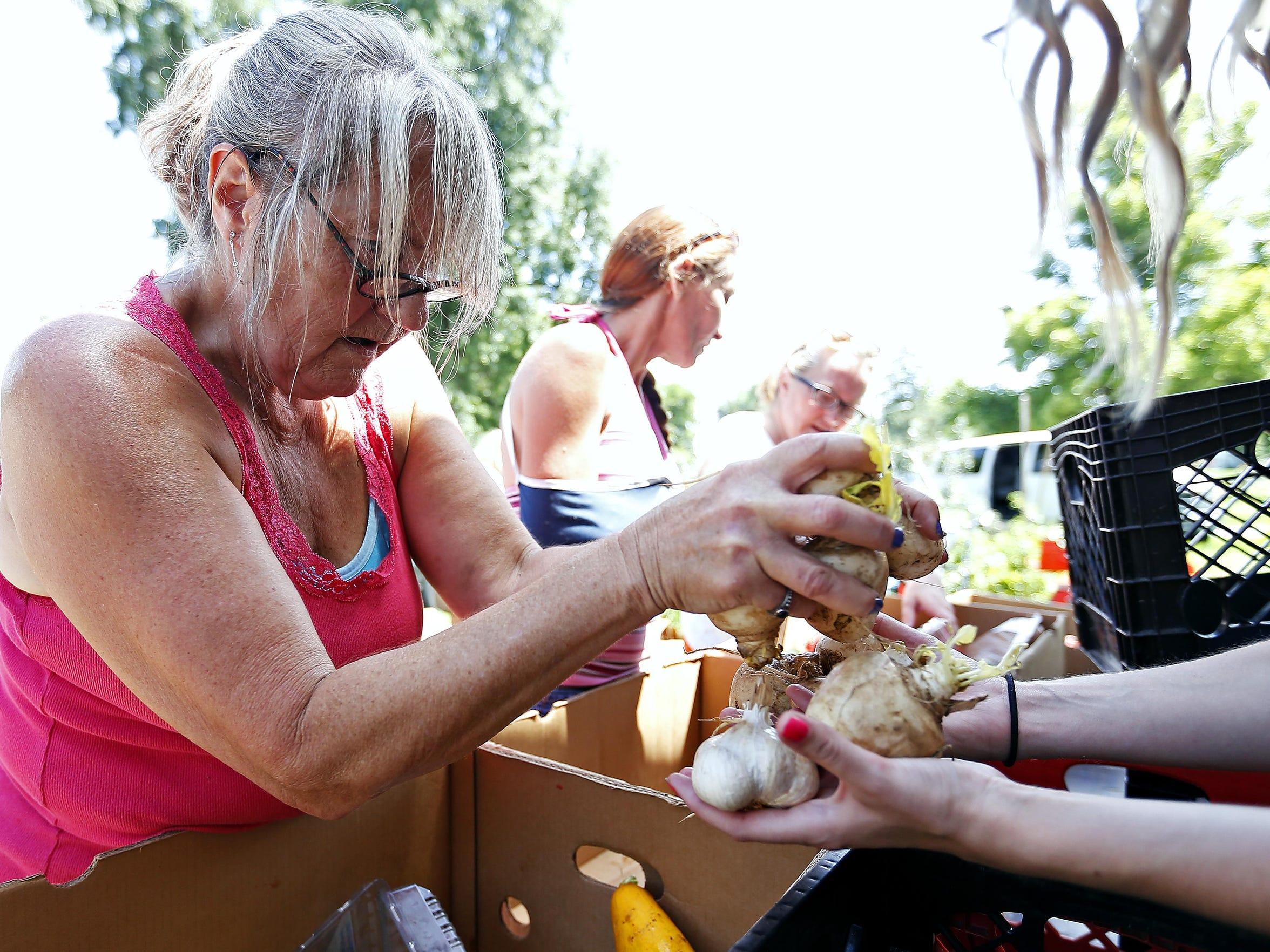 Linda Simmons, left, a community garden volunteer,