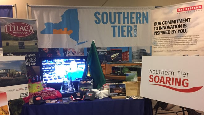 A display Wednesday, Nov. 1, advertises the Southern Tier at a regional council meeting near the state Capitol.
