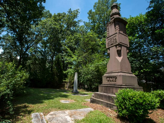 The Ware-Green Cemetery, where Revolutionary War patriot Robert Ware is buried, is shown on Wednesday, Jun. 29, 2016 in Montgomery, Ala.