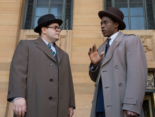 "Josh Gad and Chadwick Boseman star in ""Marshall."""