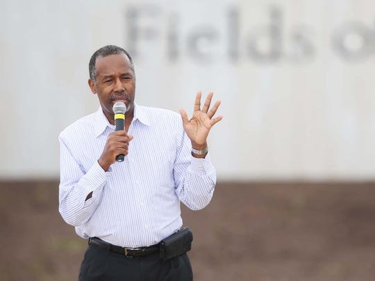 Ben Carson speaks to the crowd at the first ever Roast and Ride on Saturday, June 6, 2015 at the Central Iowa Expo grounds in Boone.