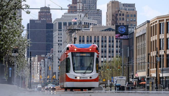 The QLINE is seen traveling northbound on Woodward Ave. near Brush Park in Detroit on Thursday, May 10, 2018.