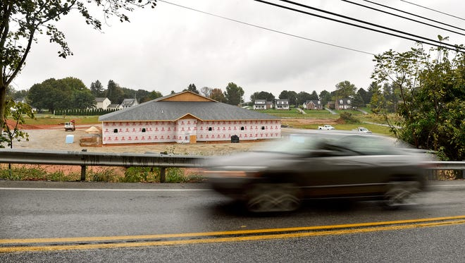 A new barracks being constructed for the Pennsylvania State Police is shown from North Main Street, or the Susquehanna Trail, Thursday, Oct. 12, 2017, in Loganville. State police have leased their current barracks, located off Loganville's interstate exit, since 1993 and will gain twice the square footage when they move into the new facility.