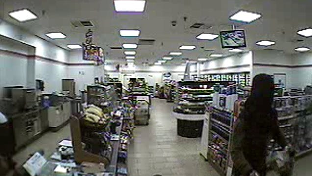 Security cam footage of a  black male suspect armed with a handgun who robbed the 7-Eleven located at 8020 Colonial Center Drive Avenue in Fort Myers Monday morning.