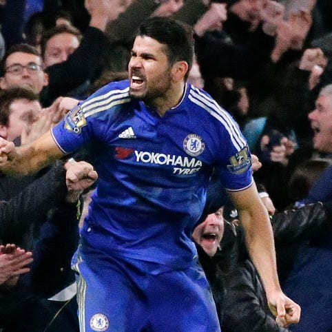 Chelsea's Diego Costa celebrates after scoring a goal
