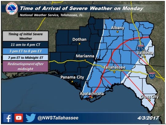 Severe weather is possible today as a strong storm system makes its way across North Florida.