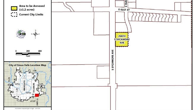 This map shows the location of Matt Metzger's property on south Sycamore Avenue and the development that is happening directly to its north.