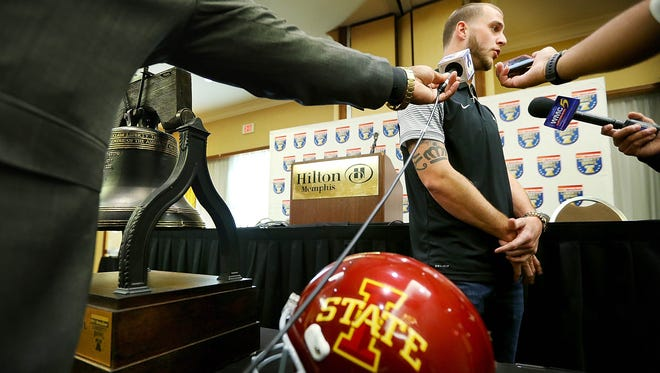 Memphis quarterback Riley Ferguson answers questions Sunday afternoon during a press conference at the Hilton Memphis.
