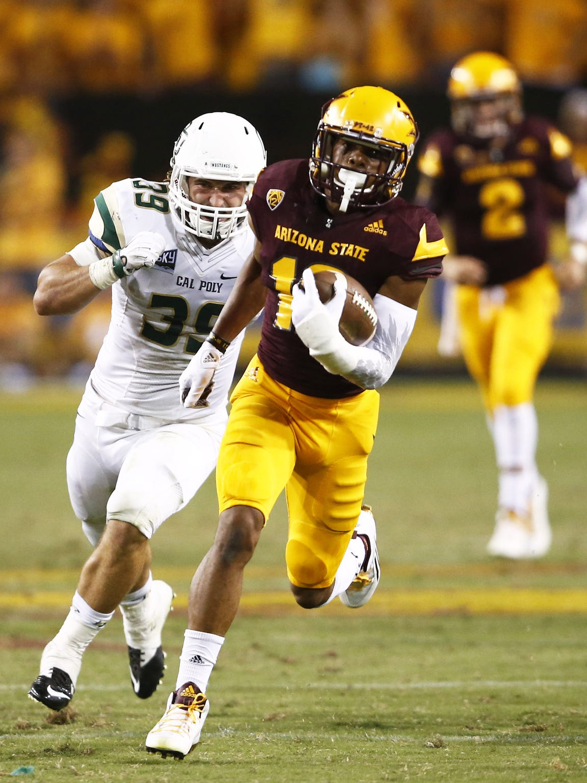 ASU's Tim White runs for 58-yards against Cal Poly at Sun Devil Stadium on Sep. 12, 2015 in Tempe.
