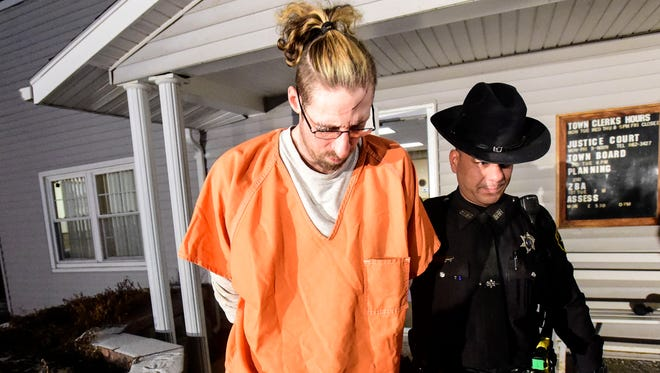 Michael Fiocco is taken to the Broome County jail after being charged in Dec. 19, 2014, death of his girlfriend, Shannon Laskaris, in the Town of Maine.