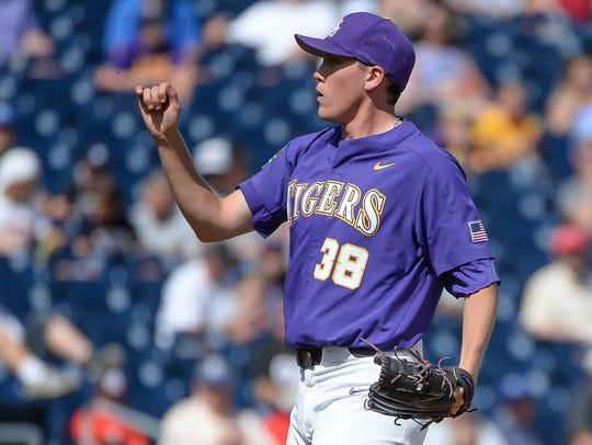 LSU Tigers pitcher Zack Hess (38) struck out 13 on