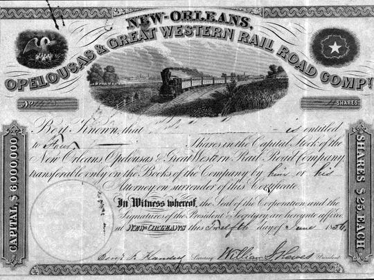1856 stock certificate for the New Orleans, Opelousas and Great Western Railroad Company
