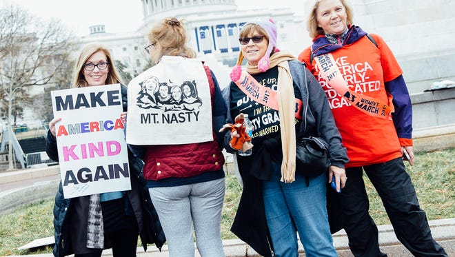 Debbie Noe, of West Des Moines, Kathy Berg, Carole Richardson, and Marcy Hahn, of Indianola, at the Women's March in Washington, D.C. on January 21, 2017.