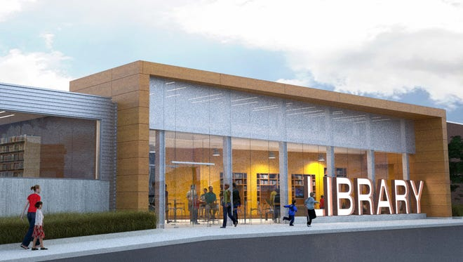 This architectural rendering shows the design for a new entrance to the Wicomico Public Library in Salisbury.