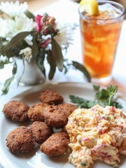 The hot water cornbread dish with pimento cheese at