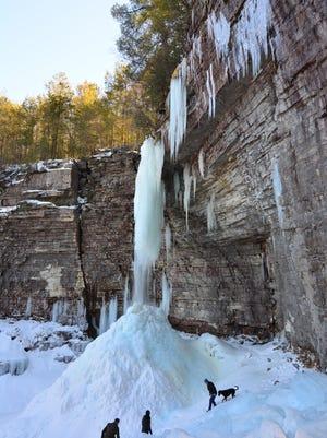 A view of the frozen Stony Kill Falls.