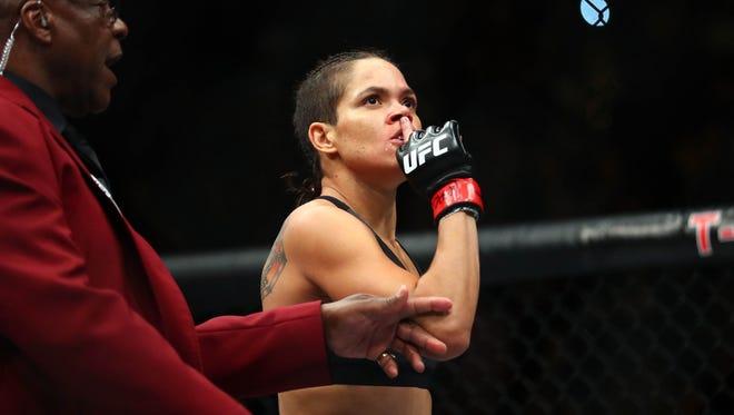 Amanda Nunes reacts following her TKO victory.