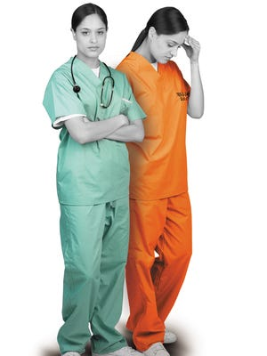 Woman In Hospital Scrubs
