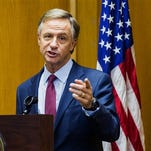 Gov. Bill Haslam speaks to reporters in February. Haslam is embarking on a trip tp South Korea, China and Japan on Saturday to cultivate relationships with major Asian companies.